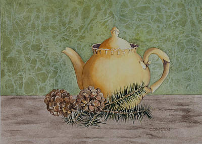 Sal Trees Painting - Tea And Cones by Kathy Comden