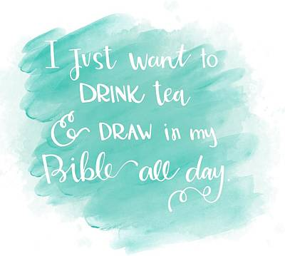 Tea And Draw Print by Nancy Ingersoll