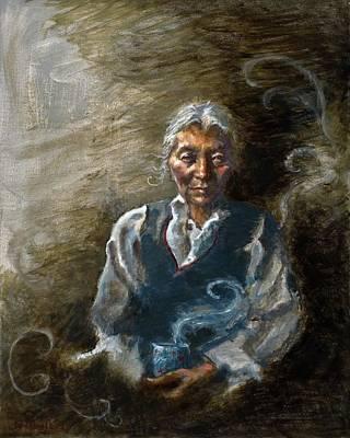 Tibet Painting - Tea And Memories by Ellen Dreibelbis