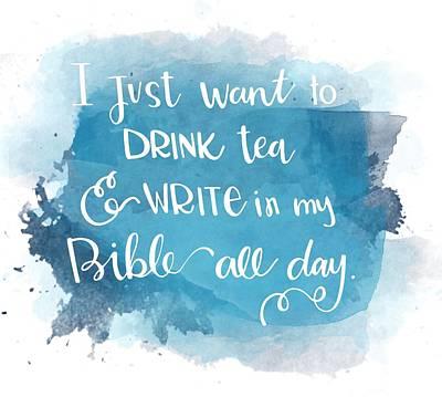 Tea And Write Print by Nancy Ingersoll