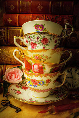 Tea Cups And Antique Books Print by Garry Gay