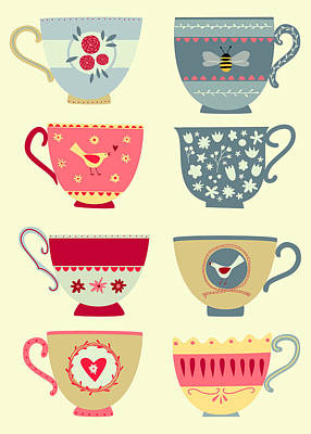Teacups Painting - Tea Cups by Nic Squirrell