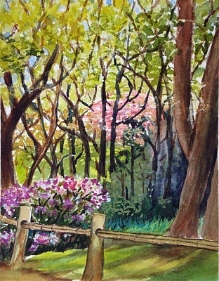 Bamboo Fence Painting - Tea Garden by Karen Coggeshall