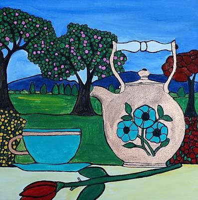 Tea In The Garden Print by Rachel Olynuk
