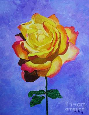 Print featuring the painting Tea Rose by Rodney Campbell