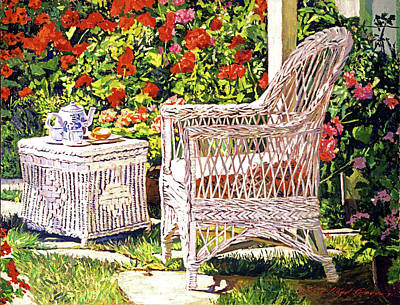 Lawn Chairs Painting - Tea Time by David Lloyd Glover
