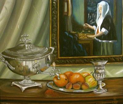 Plumb Painting - Tea With The Jewellers Wife by Richard F Barber