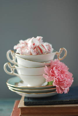 Carnations Photograph - Teacups And Candy by Shawna Lemay