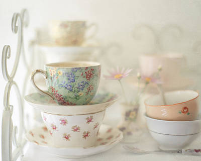 Teacups On White Print by Sharon Lapkin