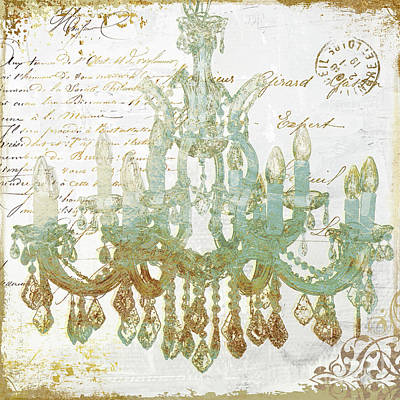 Crystal Painting - Teal And Gold Chandelier by Mindy Sommers