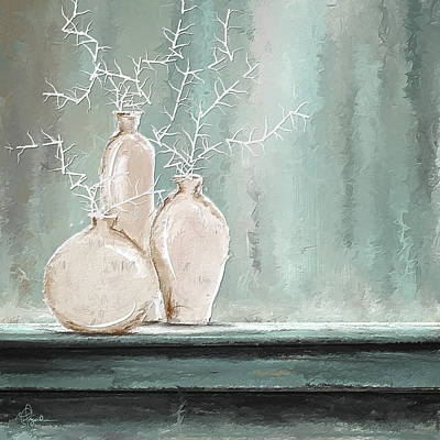 Vase Painting - Teal And White Art by Lourry Legarde