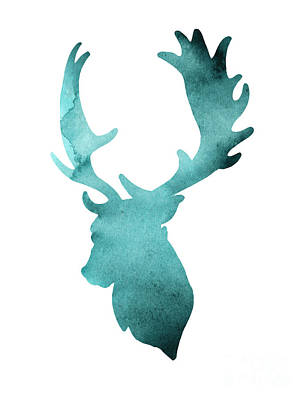 Abstract Deer Painting - Teal Deer Watercolor Painting by Joanna Szmerdt