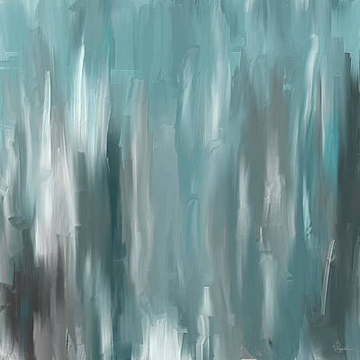 Blue Abstracts Painting - Teal Elegance by Lourry Legarde