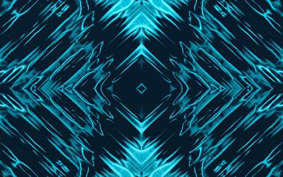Teal Kaleidoscope On Black Background Print by Gina Lee Manley