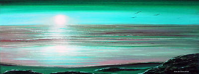 Teal Panoramic Sunset Print by Gina De Gorna