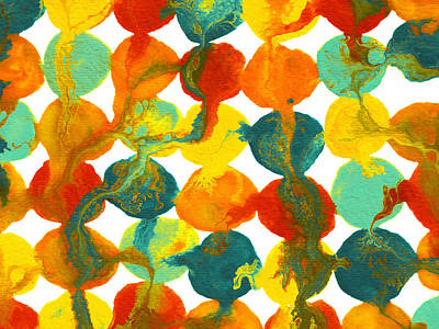 Modern Abstract Painting - Teal Yellow Red Orange Flowing Paint Circle Pattern 2 by Amy Vangsgard