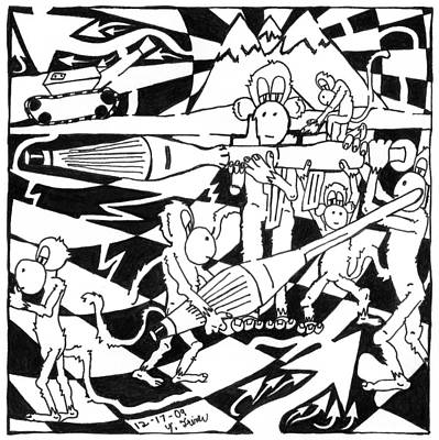 Frimer Drawing - Team Of Monkeys Maze Cartoon - Firing Rpg by Yonatan Frimer Maze Artist