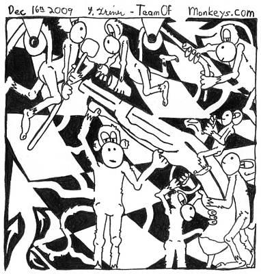 Frimer Drawing - Team Of Monkeys Maze Cartoon - Flint Gun by Yonatan Frimer Maze Artist