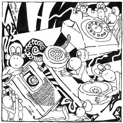 Frimer Drawing - Team Of Monkeys Maze Cartoon - Telemarketing Monkeys by Yonatan Frimer Maze Artist