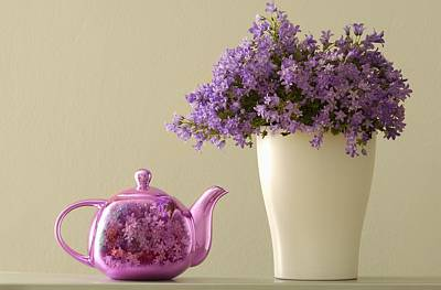 Teapot And Flowers In A Vase Print by Ben Welsh