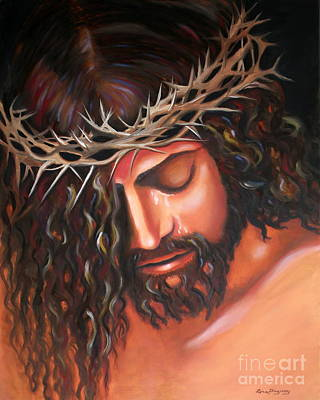 Lent Painting - Tears From The Crown Of Thorns by Lora Duguay