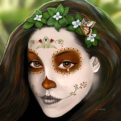 Remembrance Digital Art - Teary Eyed Day Of The Dead Sugar Skull  by Maggie Terlecki