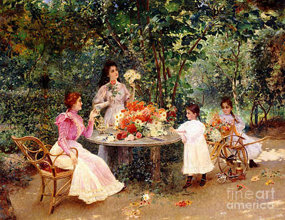 Teatime In The Garden Print by Edouard Frederic Wilhelm Richter