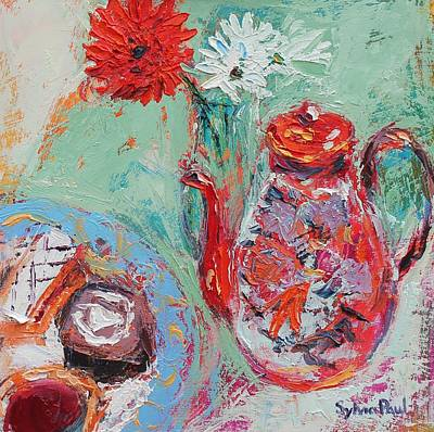 Teapot Painting - Teatime by Sylvia Paul