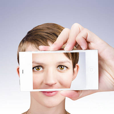 Self Shot Photograph - Tech Smart Woman Taking A Photo With Mobile Phone by Jorgo Photography - Wall Art Gallery