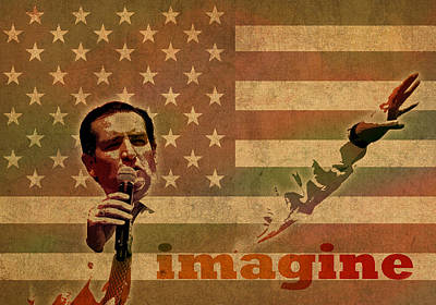 Ted Cruz For President Imagine Speech 2016 Usa Watercolor Portrait On Distressed American Flag Print by Design Turnpike