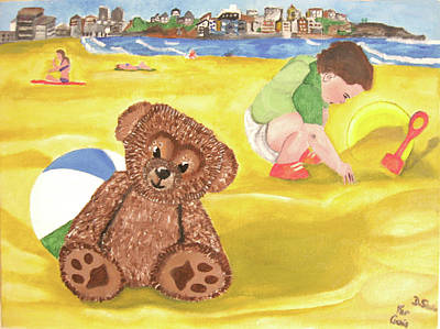 Painting - Teddy And Jude On Bondi Beach by Darren Stein