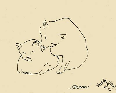 Drawing - Teddy Bathing Baby by Ocean