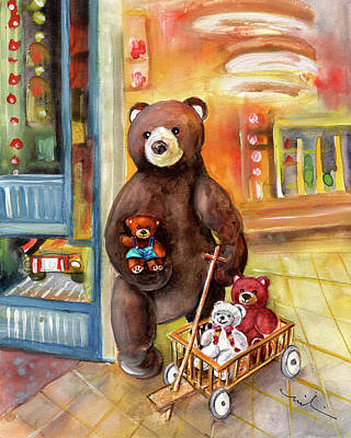 Toy Shop Drawing - Teddy Bear Day Out In Sweden by Miki De Goodaboom