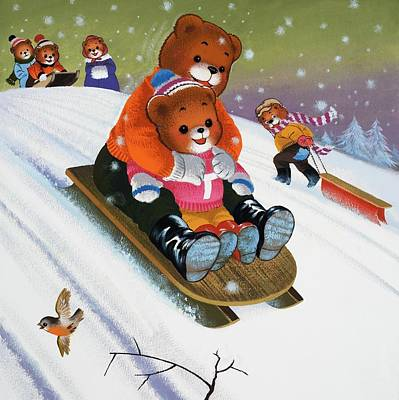 Father And Son Drawing - Teddy Bear Sleigh Ride by William Francis Phillipps