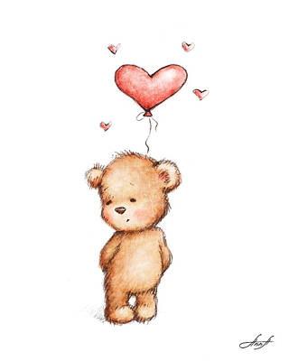 Teddy Bear With Heart Balloon Print by Anna Abramska