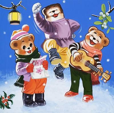 Bear Drawing - Teddy Bears Singing Carols by William Francis Phillipps