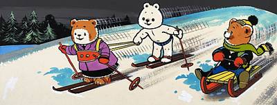 Bear Drawing - Teddy Bears Skiing by William Francis Phillipps