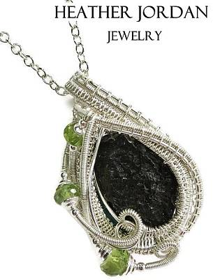 Sterling Silver Wrapped Pendant Jewelry - Tektite Meteorite Impactite Pendant In Sterling Silver With Peridot Tktss6 by Heather Jordan