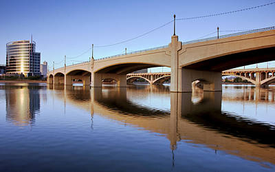 Tempe Town Lake Reflections Print by Dave Dilli