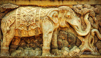 Golden Digital Art - Temple Elephant by Adrian Evans
