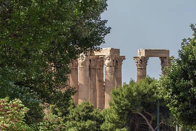 Old Photograph - Temple Of Olympian Zeus Columns Behind Trees by Iordanis Pallikaras