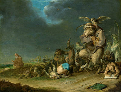 Biblical Scene Painting - Temptation Of Saint Anthony by Cornelis Saftleven