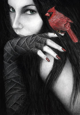 Black And White Bird Painting - Temptation by Pat Erickson