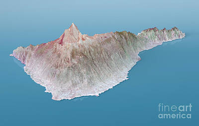 Geography Digital Art - Tenerife Topographic Map 3d Landscape View Natural Color by Frank Ramspott