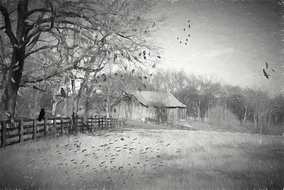Tennessee Country Barn Sketch 3185 Print by Ericamaxine Price