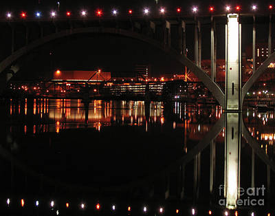 Tennessee River In Lights Print by Douglas Stucky