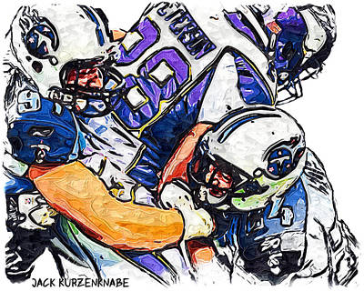 Tennessee Titans Karl Klug And Chris Hope And Minnesota Vikings Adrian Peterson Print by Jack K