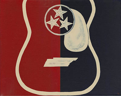 Tn Painting - Tennessee Tri Star Guitar by Helen Prater