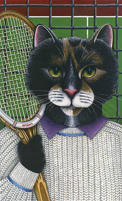 Tennis Cat Print by Carol Wilson