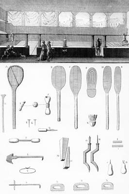 Tennis Court And Rackets Print by French School